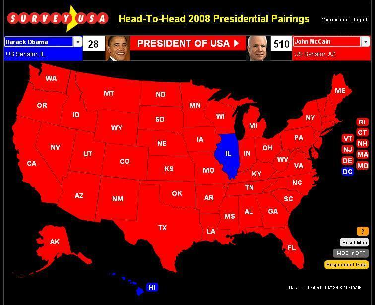 October 2006 McCain v Obama SurveyUSA Electoral Map
