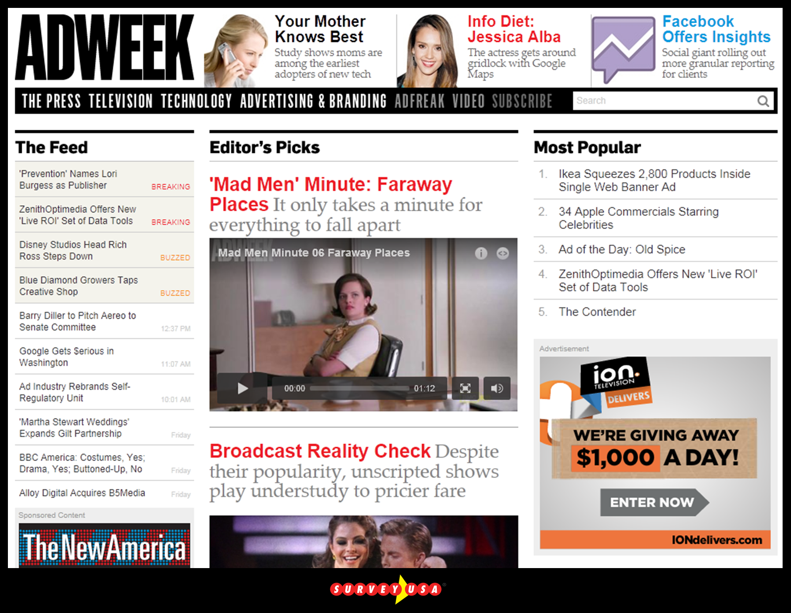 Adweek home page on 04/24/12
