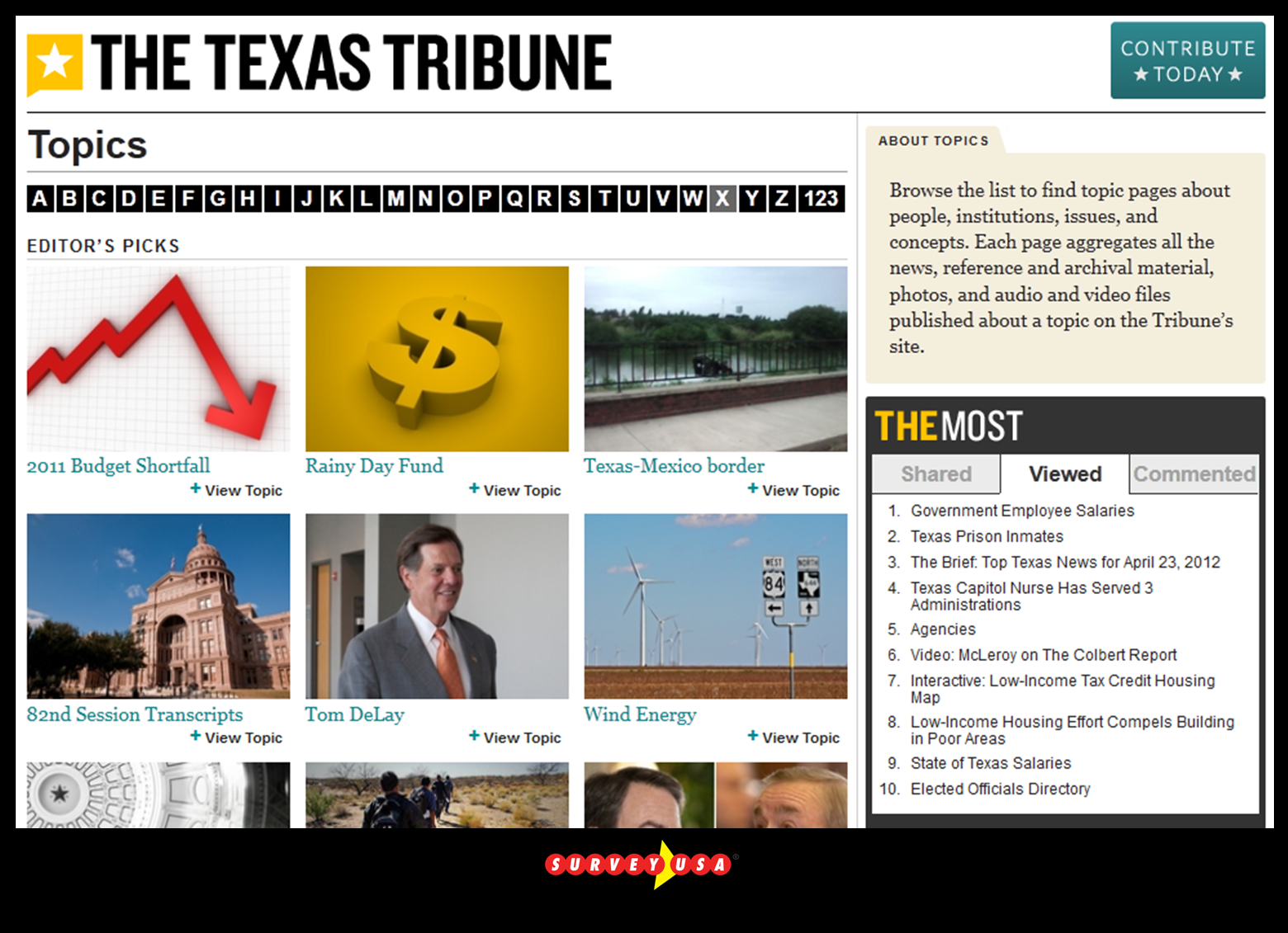PUB Texas Tribune topics page 042412