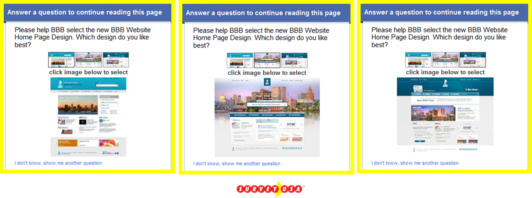 3O Please help BBB select the new BBB website home page design